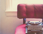purple home decor, vintage typewriter photo, plum cranberry red velvet chair, gift for authors writers, photograph, eggplant burgundy wine