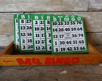 Vintage Bingo Cards Green White  Set of 5