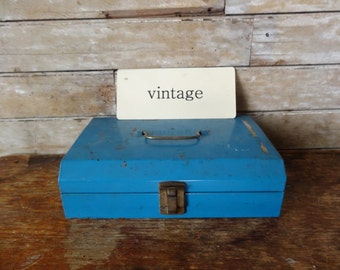 Vintage Blue Chic Metal Industrial Box