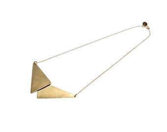 Triangle Necklace, Gold Pendant Geometric Necklace, Geometric Jewelry 18""
