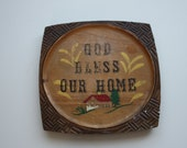 Vintage God Bless Our Home Hand Painted Sign