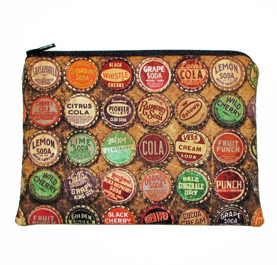 Retro vintage soda pop bottle caps zipper pouch accessories for Soda caps for sale
