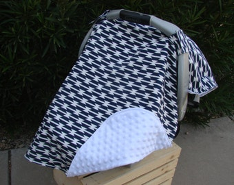 Baby Car Seat Canopy - Baby Car Seat Cover - Navy Car Seat Canopy - Tribal Car Seat Cover - Baby Shower Gift - White Car Seat Cover