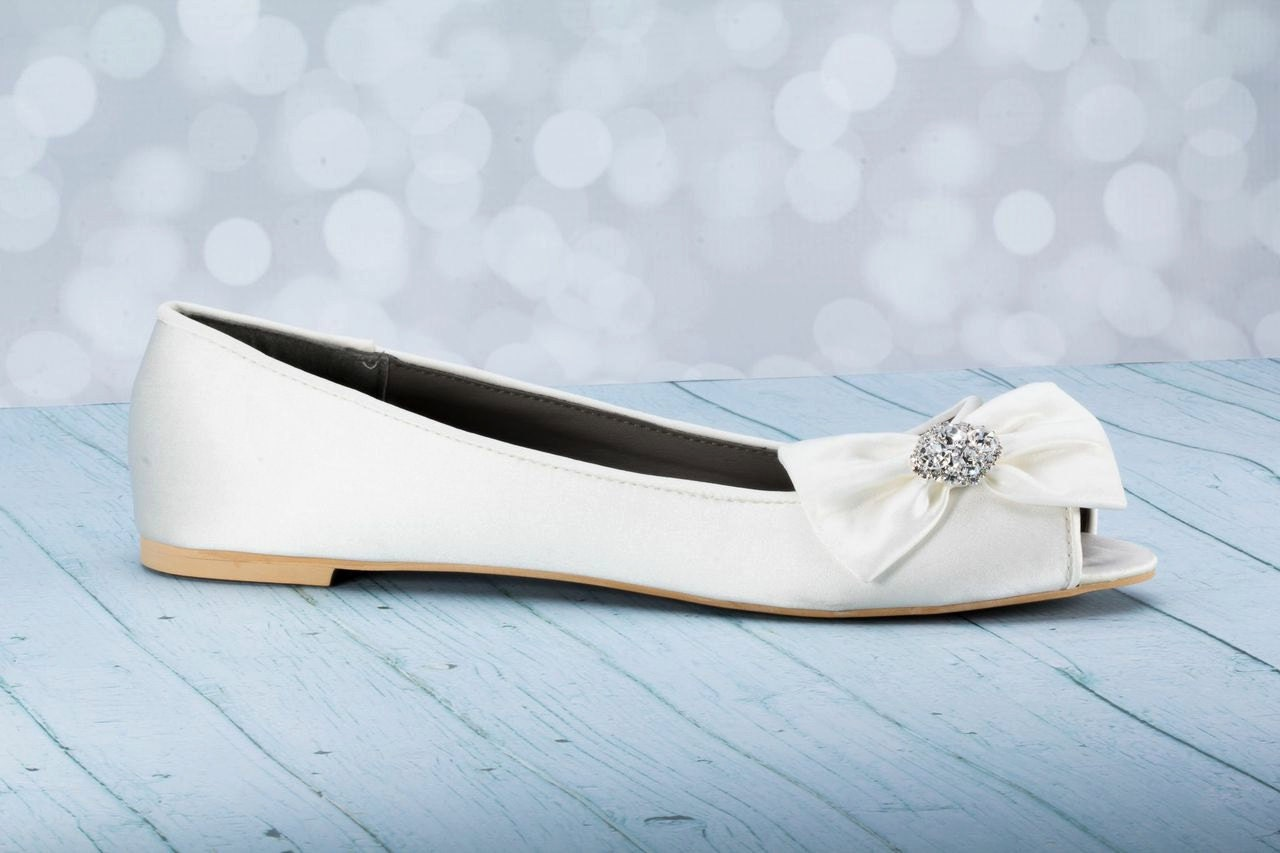 Flats Flat Wedding Shoes Peep Toe Wedding Flats By Parisxox
