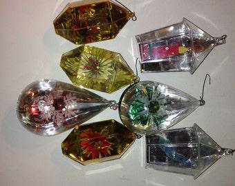 Set of 7 Vintage Jewelbrite Christmas Ornaments