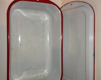 Vintage Red and White Graniteware Refrigerator Dish