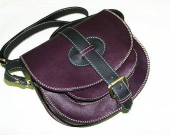 Color Block Deep Purple & Black - Goldmann S - Leather Messenger - Cross body bag - Messenger