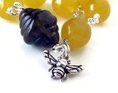 HONEY BEE jewelry bee bracelet yellow jade sterling silver bee bracelet bee hive bumble bee bracelet