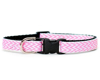 "Cat Collar - ""The Publicist"" - Pink Chevron Print"