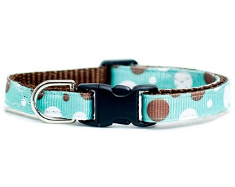 "Cat Collar - ""The Enthusiast"" - Brown and White Polka Dots"