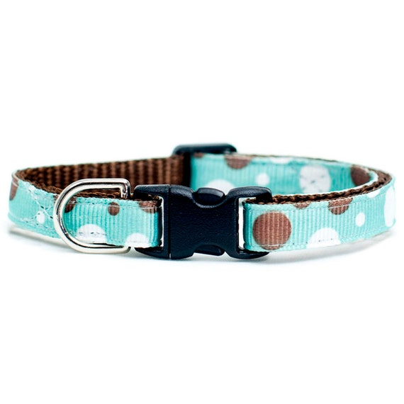 """Cat Collar - """"The Enthusiast"""" - Brown and White Polka Dots"""