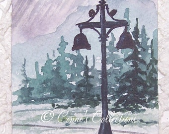 ACEO Original Watercolor Lanscape Miniature Painting ACETSY SFA Team Evergreen Trees Lamppost