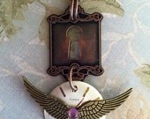 Steampunk Winged Watch Face with Key Hole Necklace