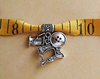 Vintage Measuring Tape Bracelet with Silver Sewing Charms