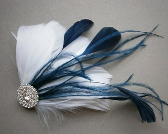 White, Navy, Wedding, hair, accessory, Bridal, Accessories, Feather, hair clip, fascinators, Bride - NAVY WEDDING
