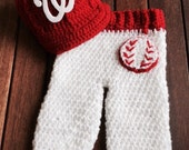 Newborn baby Washington Nationals cap and pants set