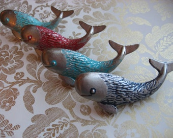 2 Whale Knobs Silver Ocean Animal Childs Room Custom Colors Pictured Examples Many More Options Decorative Hardware B-9