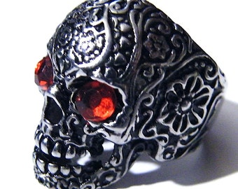 Large Silver Silver Skull Ring Gothic Sugar Skeleton Blood Red Rhinestone Eyes Goth Filigree Day of the Dead