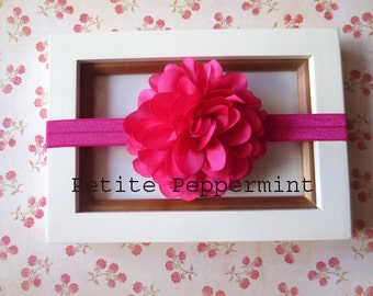 Baby Headband, Baby flower headband - Hot Pink Flower Headband