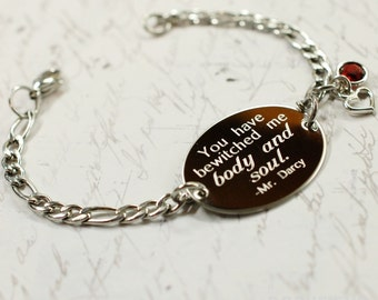 You have bewitched me quote oval bracelet, stainless steel with swarovski crystal or pearl