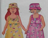 Easy Girl's Dress and Hat, Summer Sundress, Butterick 6558 Sewing Pattern UC Children's Sizes 4-5-6