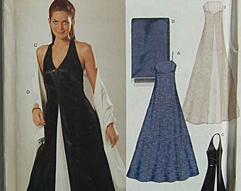 Misses' Gorgeous Evening Gown and Shawl, Halter, Sleeveless, New Look 6318 Sewing Pattern UNCUT Sizes 6-16