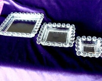 3 pc Ash Tray Set Imperial CANDLEWICK Glass from Ohio 1950's Pristine