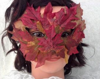 Red Autumn Leaf Mask