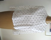 Vintage Blouse / Polka Top with Flouncey Cuffs / White and Black Top / Chiffon Top with See Through Sleeves