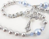 Personalized Rosary for a Boy in Gray and Light Blue - Swarovski Crystals - Baptism, First Communion, Confirmation Gift