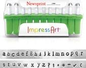 "Metal Stamp Set Impressart ""Newsprint""  3mm Lowercase--Metal Alphabet Set Plus 7 BONUS Stamps-Metal Supply Chick"