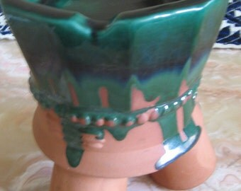 enameled natural clay tripod  ashtray circa 1970