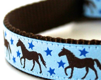 Horses and Stars Dog Collar / Adjustable Dog Collar / Ribbon Dog Collar / Blue