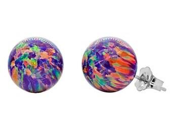 10mm Australian Royal Lavender Opal Ball Stud Post Earrings, Solid 14K White Gold, Purple Opal Earrings, Wedding Earrings, Purple Studs