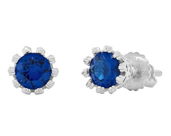 Amira 5mm 1.0ct Brilliant-cut created Blue Sapphire Screw Back Stud Earrings Solid 925 Sterling Silver, JEX30345-0817