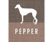 Personalized Dog Silhouette Art Print, Greyhound, Custom Colors