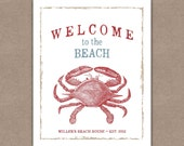 Beach House Art Print, Personalized Decor, Welcome Typography, Crab