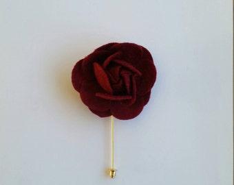 Lapel Pin Dark Red Flower