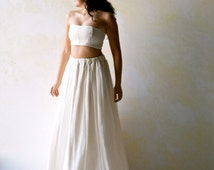 Boho Wedding Dress, Alternative Wedding Dress, Beach wedding dress, Cropped top silhouette, Two piece Wedding dress, Hippie wedding dress