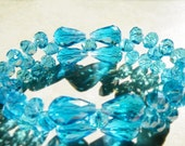 Bracelet, stretch, aqua, lots of shimmering, swarovski crystals, 2 row, women, 8 inches