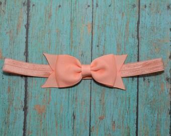 Peach Bow Headband, Peach Baby Headband, Baby Girls Hair Accessories, Girls Hair Accessories, Peach Headband, Peach Bow, Baby Bow Headband