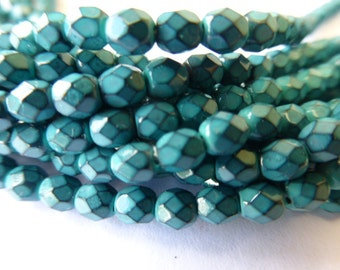 100 Czech Glass Fire Polish  in  a Green Turquoise Blue Snake Skin Glass Beads in size 4mm Round