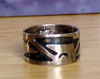 Sterling Silver Band Ring, Aztec style Ring, Silver ring from the 1970s. Stamped Silver Jewelry