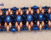PATTERN Tutorial Seraphina Bracelet Super Duo Seed Beads Crystals RAW