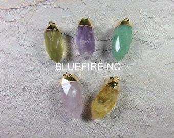 24 K Gold Plated top Pendulum Pendant in Natural Gemstone