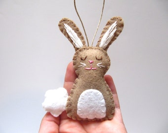 Personalized Bunny Ornament, Bunny Rabbit Ornament, Wool Felt Bunny Ornament, Woodland Animal Ornament, BROWN Bunny Easter Ornament