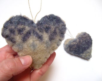 Wool Christmas Ornament, Duo of Hearts Up-cycled Ornament, Holiday Ornament, Valentine Gift, Heart Wedding Favor