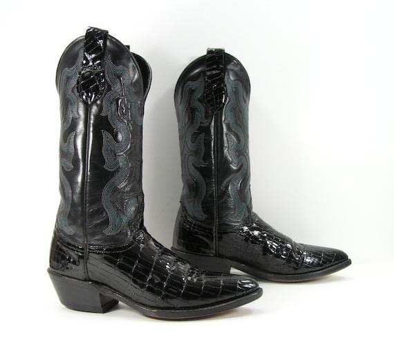 vintage cowboy boots s 8 5 m b black patent leather