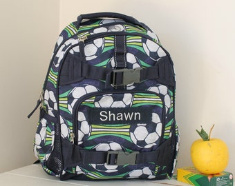 Small Boys Backpack Mackenzie Pottery Barn (Small Size) -- Blue Soccer