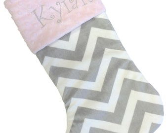 Christmas Stocking Gray and White Chevron Personalized Stocking With Baby Pink or your Choice Minky Cuff Color
